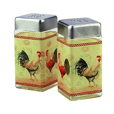 Grant Howard 4 Ounce Capacity Modern Square Glass Rooster Design Salt and Pepper Shaker Set for Kitchen and Dining Table, Multicolor