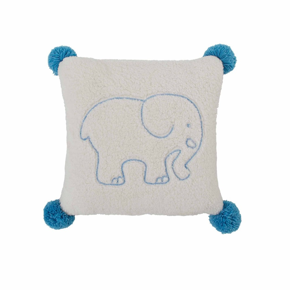 "Image of ""Ivory Ella 20""""x20"""" Sherpa Throw Pillow Blue"""