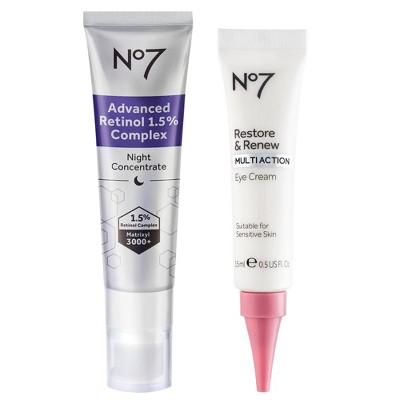 No7 Retinol 1.5% Complex Night Concentrate and Restore & Renew Multi Action Eye Cream Duo - 2ct