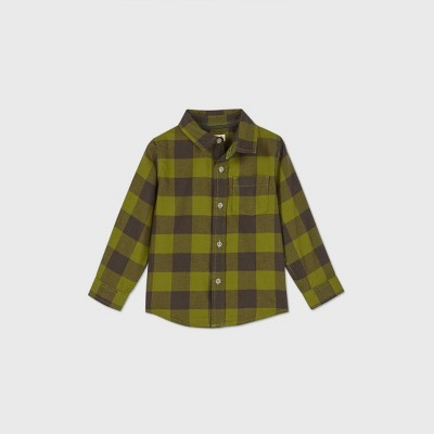 Toddler Boys' Long Sleeve Woven Plaid Button-Down Shirt - Cat & Jack™ Olive Green 2T