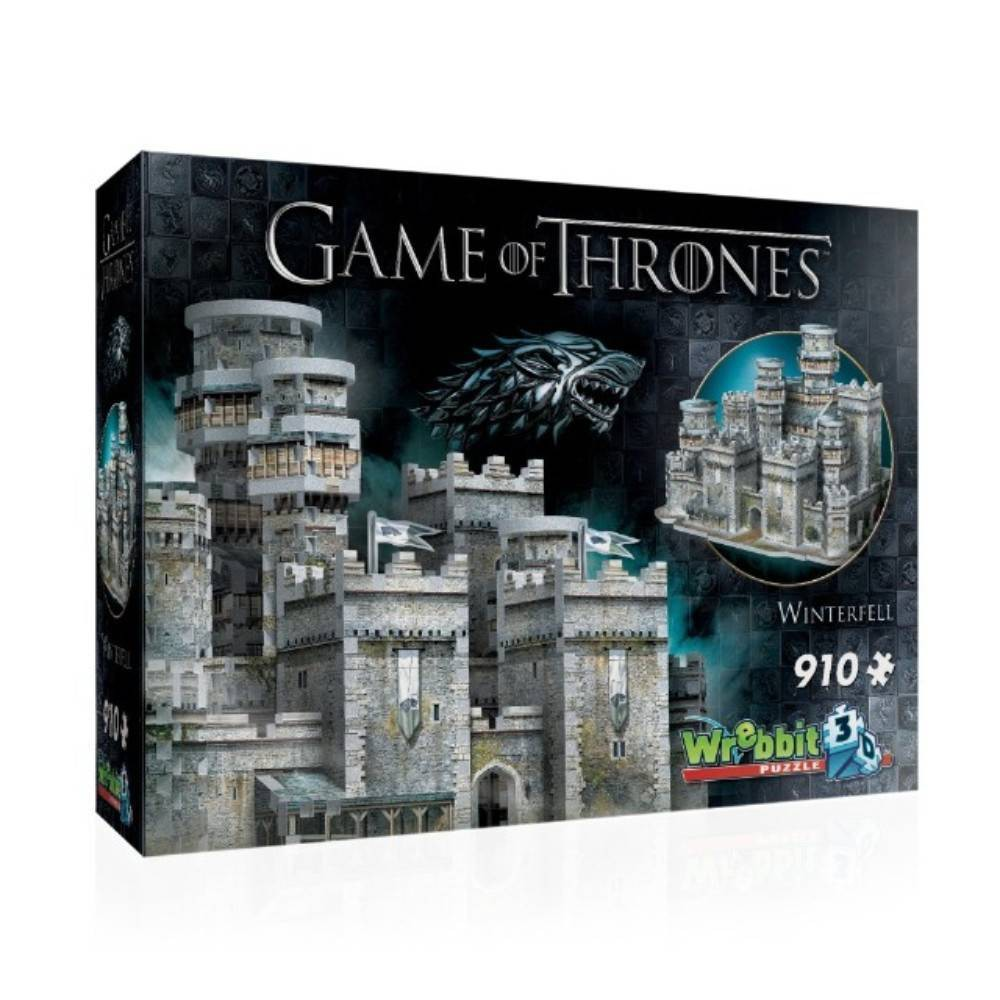 Wrebbit Winterfell Wrebbit 3D Puzzle 910pc Located in the center of the northmost province of the Seven Kingdoms, Winterfell is considered to be Westeros' capital of the north. Build your own 3D replica of this ancestral castle and seat of power of House Stark. This 910 piece 3D puzzle is a must for all Game of Thrones fans. Winterfell assembled dimensions are approximately 17.75 L x 12.25  W x 11.75  H. Wrebbit3D puzzles have snug and tight-fitting pieces that are easy to handle. They are the sturdiest 3D puzzles on the market with the highest quality of design and illustration. Made in Canada. Recommended for ages 14 and up. Warning: Choking Hazard -- Small parts. Not for children under 3 yrs. Gender: Unisex.
