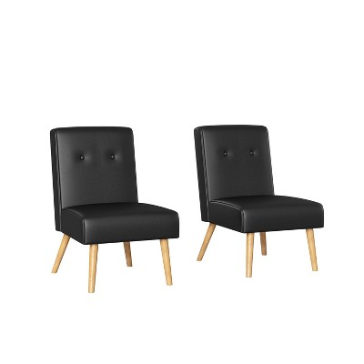 Set of 2 Webster Button Tufted Armless Chair Black - Handy Living