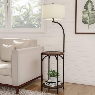 Floor Lamp End Table (Includes LED Light Bulb) - Modern Rustic