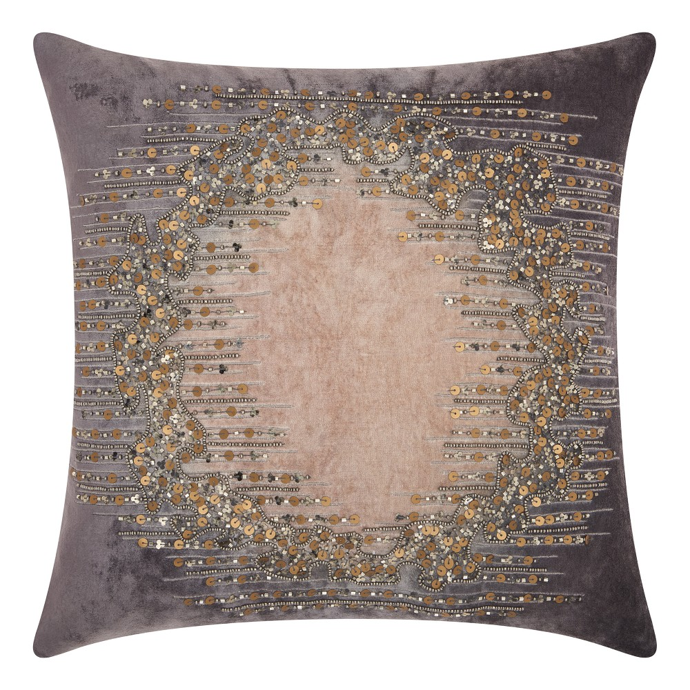 Image of Rich Charcoal Mosaic Throw Pillow - Mina Victory