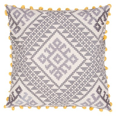 Gray/Yellow Traditions Made Modern Throw Pillow (20 x20 )- Jaipur