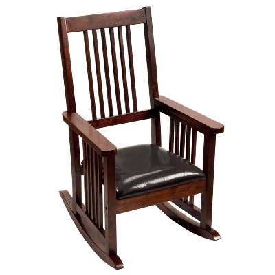 Kids' Slat Back Rocking Chair with Leatherette Upholstered Seat - Gift Mark