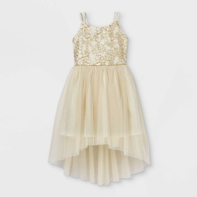 Zenzi Girls' Metallic Floral Sleeveless Tulle Dress - Cream