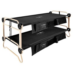 Disc-O-Bed Large Cam-O-Bunk Benchable Bunked Camping Cot with Organizers, Black