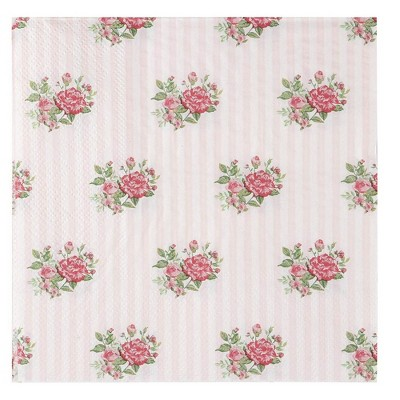 Juvale 100-Pack Floral Pink Roses Disposable Paper Napkins Party Supplies 6.5 Inches