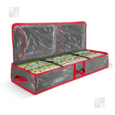 """OSTO Underbed Gift Wrap Storage Bag and Accessory Organizer Fits 18-24 Standard Rolls of 40"""". Tearproof and Water-Resistant"""