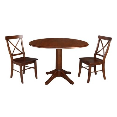 """42"""" Pete Round Top Pedestal Extendable Dining Table with 2 Chairs Espresso Brown - International Concepts"""