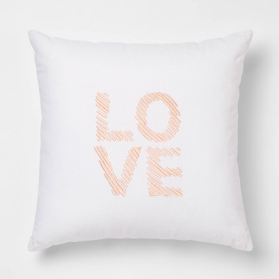 Love  Square Throw Pillow White/Pink - Room Essentials™