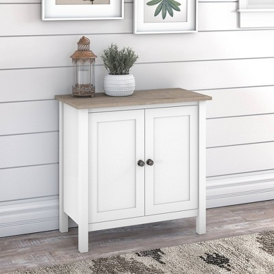 Mayfield Accent Storage Cabinet with Doors Shiplap Gray/Pure White - Bush Furniture