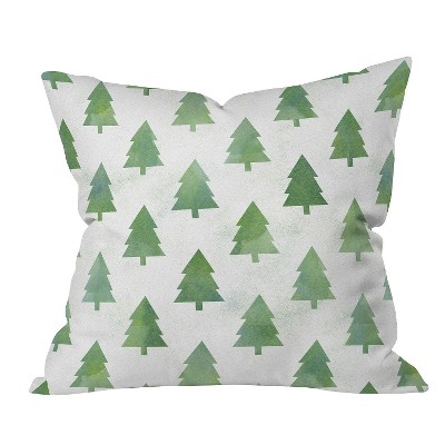 Green Nature Leah Flores Pine Tree Forest Pattern Throw Pillow (20 x20 )- Deny Designs®