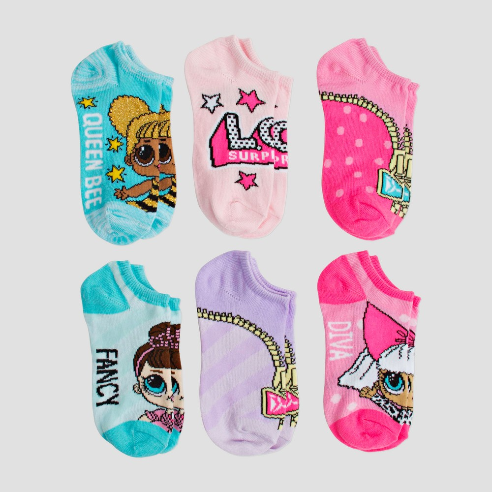 Image of Girls' L.O.L. Surprise! 6pk Assorted Socks - M/L, Girl's, Size: Medium/Large, MultiColored