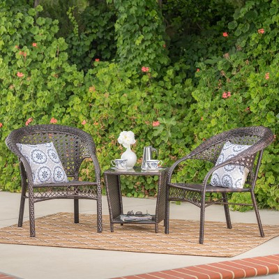 Hamilton 3pc Wicker Chat Set - Multibrown - Christopher Knight Home