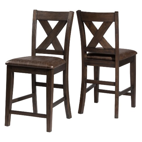 Set of 2 Spencer Non Swivel Counter Stool Wood Dark Espresso/Brown Faux Leather - Hillsdale Furniture - image 1 of 2