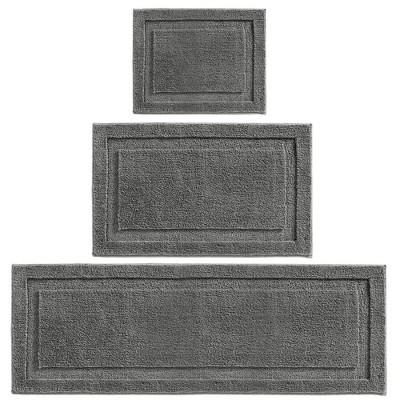 mDesign Microfiber Polyester Bathroom Spa Mat Rugs/Runner, Set of 3 - Dark Gray