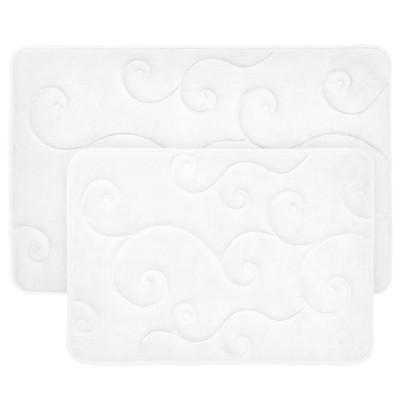 Swirl Memory Foam Bath Mat 2pc White - Yorkshire Home
