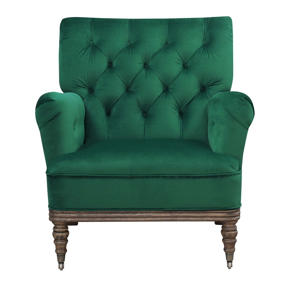 Riveria Accent Chair Deep Emerald - Picket House Furnishings The Picket House Furnishings Riveria Accent Chair will be your new favorite place to unwind! This multi-room accent chair comes in a rich, velvet fabric that feels soft to the touch; you'll never want to get out of this chair. Button tufting is present throughout, adding instant style and depth to this already stylish chair. Color: Deep Emerald. Gender: Unisex. Pattern: Solid.