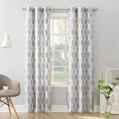 Hotaru Leaf Print Semi-Sheer Grommet Curtain Panel White - No.918
