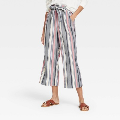 Women's Mid-Rise Tie-Front Cropped Wide Leg Pants - Knox Rose™
