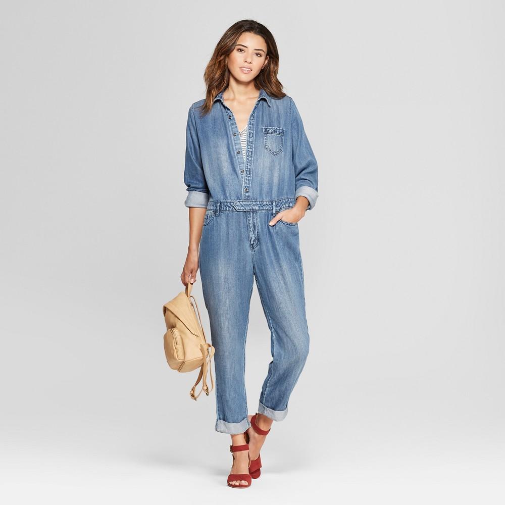 Women's Denim Wide Leg Jumpsuit - Universal Thread Medium Wash 8, Blue