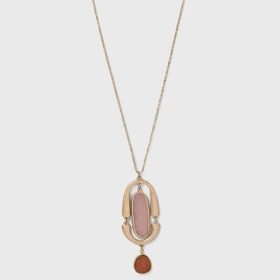 Semi-Precious with Worn Gold Pendant Necklace - Universal Thread™