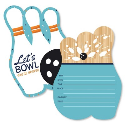 Big Dot of Happiness Strike Up the Fun - Bowling - Shaped Fill-in Invites - Birthday Party or Baby Shower Invitation Cards with Envelopes - Set of 12
