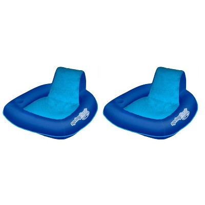 SwimWays 6060074 Spring Float SunSeat Comfortable Summertime Relaxation Lounge Seat with Cup Holder for Water Pool Lake River Beach, Blue (2 Pack)