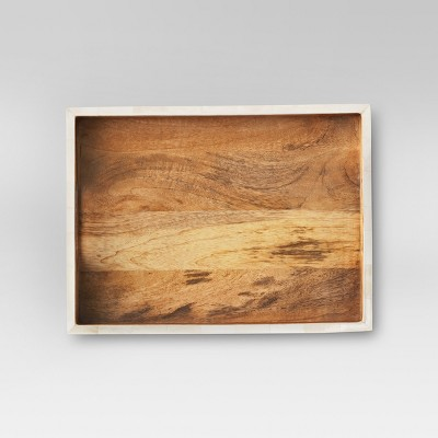 Wood and White Faux Bone Tray - Threshold™