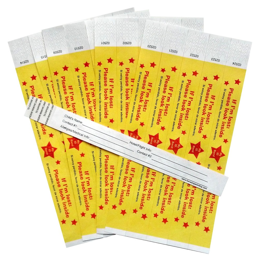 Image of Kenson Kids Travel ID Bands, 25ct