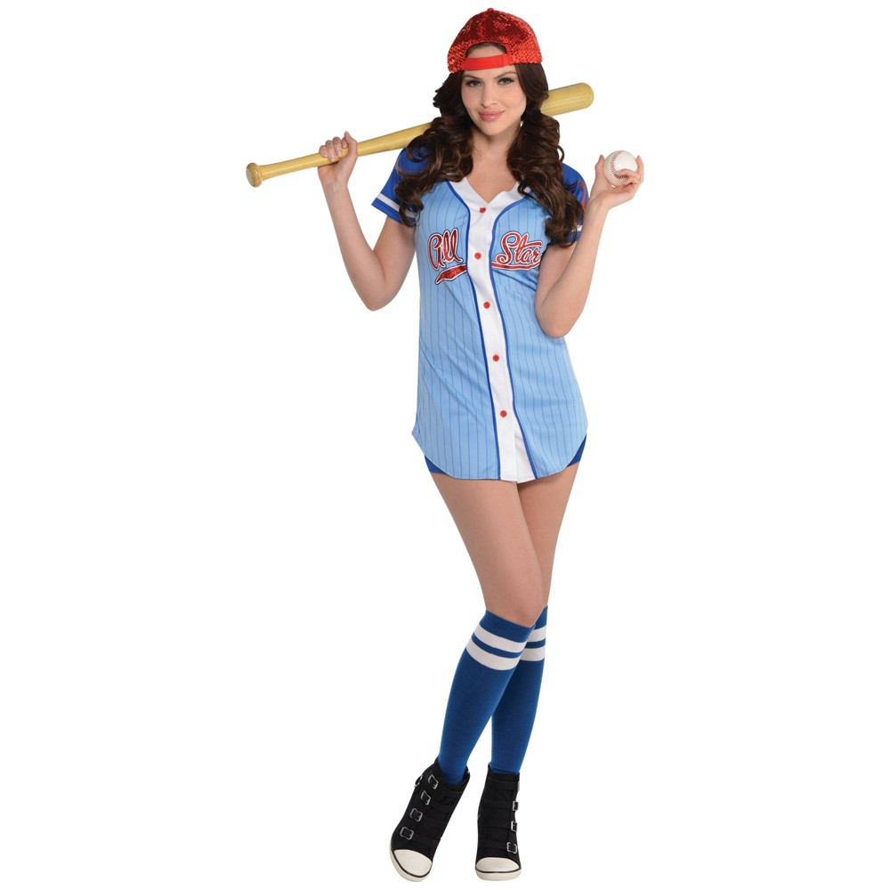 Adult Baseball Babe Halloween Costume M 6 8