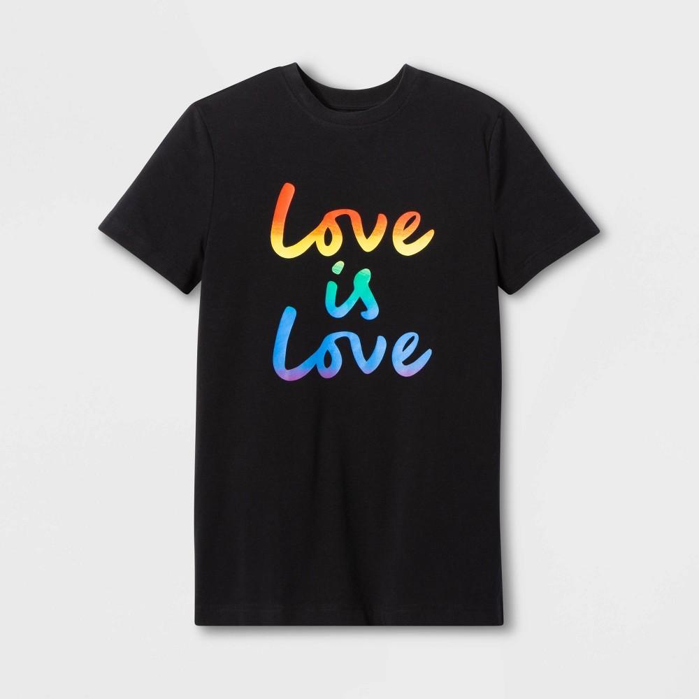 Pride Adult Short Sleeve Gender Inclusive Love Is Love T-Shirt - Black XS, Men's