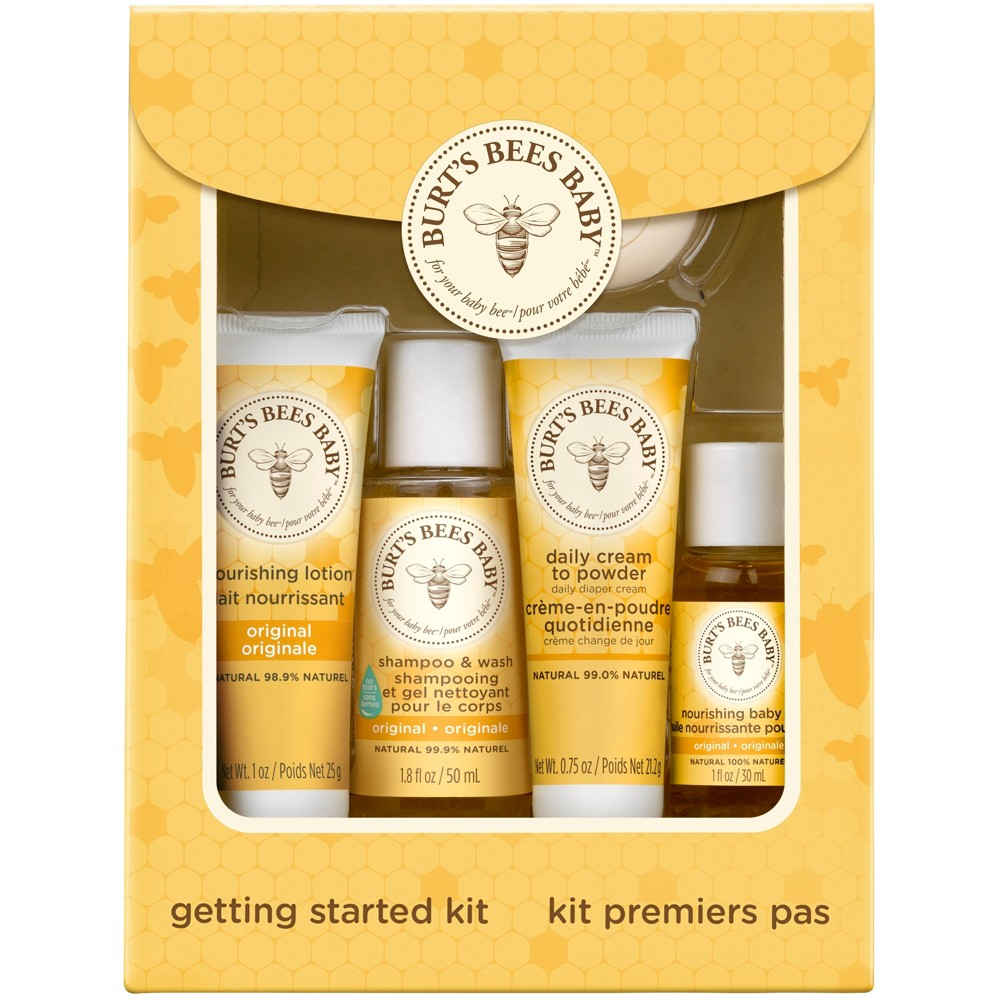 Burt's Bees Baby Bee Getting Started Kit. Burt's Bees Baby Getting Started Gift Set, makes a welcome baby gift for a new mom. It has everything a mama needs to gently care for her little one's delicate skin. This 5pc gift set comes in an attractive box making it the perfect gift for Mother's Day or a baby shower. It includes trial sizes of Burt's Bees Baby Nourishing Lotion, Shampoo and Wash, Cream-to-Powder, Nourishing Baby Oil and Buttermilk Soap. These baby care products are specially formulated with natural ingredients and are gentle enough to use everyday. They are pediatrician-tested and contain no phthalates, parabens, petrolatum or Sls. The convenient sizes make it easy to keep at hands reach or stash in a diaper bag. This set makes the perfect baby shower gift or a gift for a new mom. Keep baby natural with Burt's Bees Baby products from Burt's Bees. Usage Directions: See individual product listings for their usage directions.