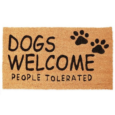 """Coco Welcome Door Mat for Outside, Indoor Outdoor Coir Doormat, Dogs Welcome People Tolerated, 17"""" x 30"""", Brown"""
