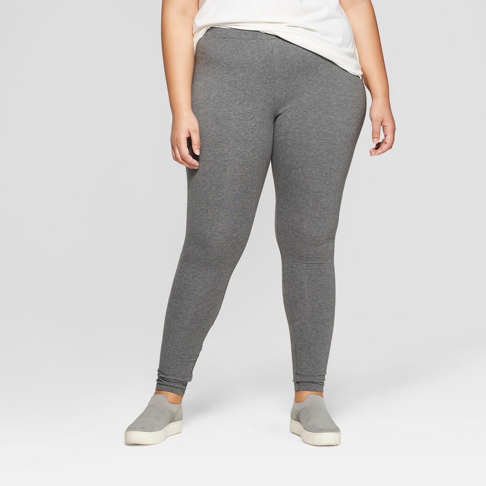 Womens Plus Size Mid-Rise Leggings - Ava & Viv Dark Heather Gray 3X Cheap