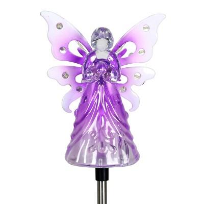 """33.85"""" Acrylic Solar Angel Stake Purple - Exhart"""