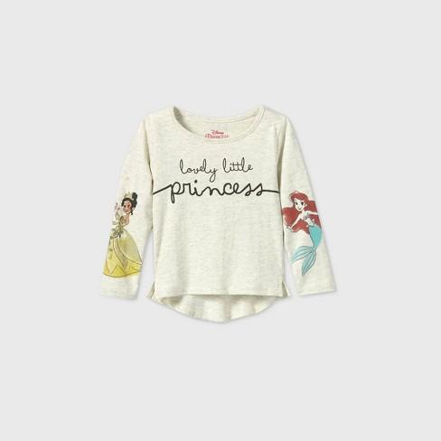 Toddler Girls' Disney Princess 'Lovely Little Princess' Long Sleeve T-Shirt - Beige - image 1 of 2