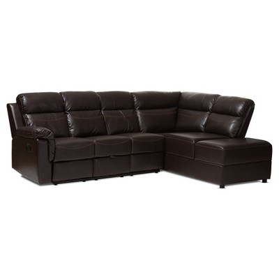 2pc Roland Modern and Contemporary Faux Leather Sectional with Recliner and Storage Chaise Dark Brown - Baxton Studio