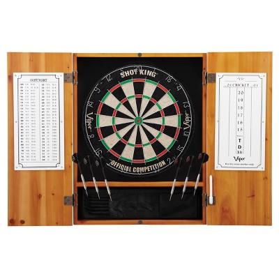 Viper Metropolitan Sisal Fiber Bristle Dartboard and Cabinet Bundle Standard Set - Oak