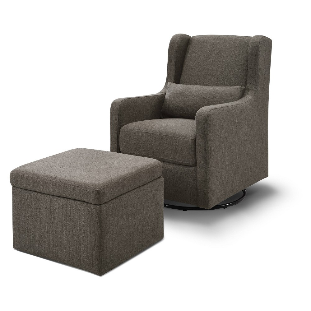 Image of Carter's by DaVinci Adrian Swivel Glider with Storage Ottoman - Performance Charcoal Linen, Grey