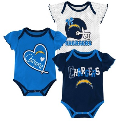 NFL Los Angeles Chargers Baby Girls' Newest Fan 3pk Bodysuit Set - 6-9M