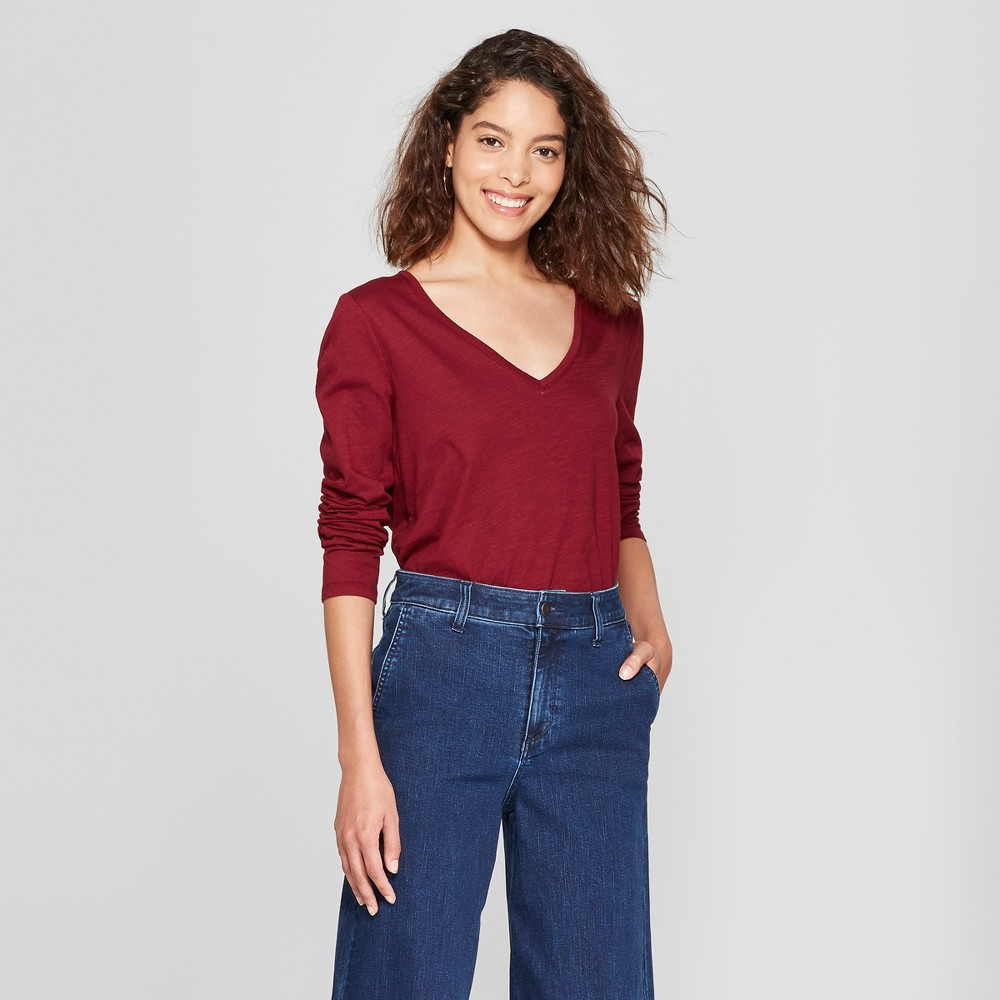 Women's Long Sleeve Vintage V-Neck T-Shirt - A New Day Burgundy (Red) Xxl