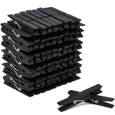 """Juvale 100-Count Black Wooden Clothes Pins 4"""" for Laundry & Decorate Photos/ Pictures/ Postcards, Clothespins for DIY Art Craft Party Favors"""