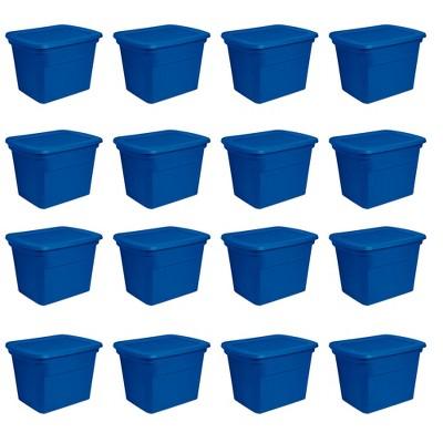 Sterilite 18 Gallon Plastic Stackable Storage Tote Container Box, Blue (16 Pack)