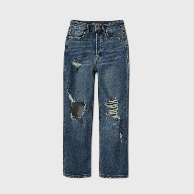 Women's High-Rise Distressed Straight Jeans - Wild Fable™ Medium Wash