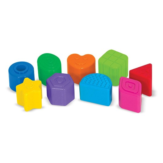 Melissa & Doug K's Kids Take-Along Shape Sorter Baby Toy With 2-Sided Activity Bag and 9 Textured Shape Blocks image number null