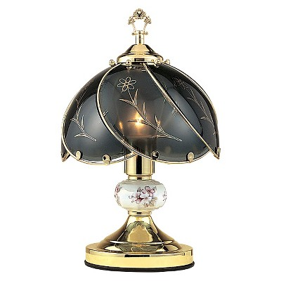 "14.25"" Metal Table Lamp with Antique Glass Shade Black - Ore International"