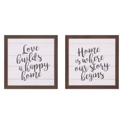 20 x20  Happy Home Wood Plank Wall Art Gray - Patton Wall Decor